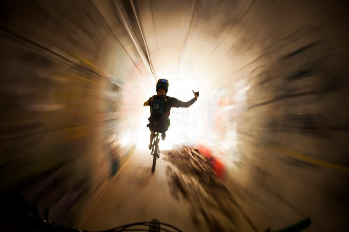 Chris Johnston rides through an underpass during the Trans-Provence enduro stage race from Sospel to Menton, France. Photo by Gary Perkin